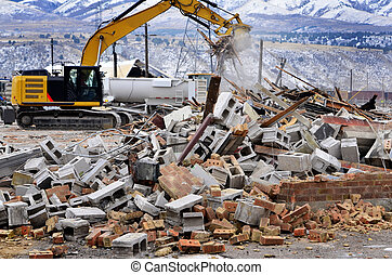 Heavy Equipment Tearing Down Building Construction - Heavy...