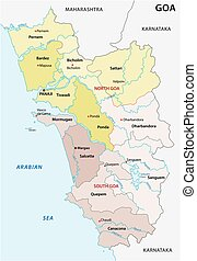 Administrative and political vector map of the Indian state...
