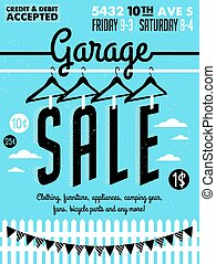 Garage Sale Poster - Garage or Yard Sale with signs, box and...