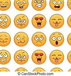 Seamless pattern with smiley face