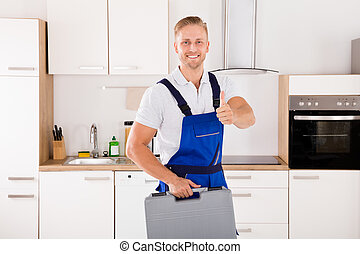 Male Worker With Toolkit - Portrait Of Happy Male Worker...