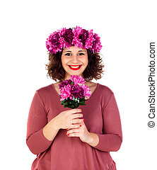 Happy girl with a branch and crown with pink and purple...