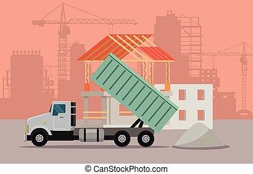 Trucking Vector Banner. Cargo Concept Truck Tipper -...