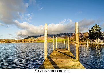 Wooden jetty on Derwentwater - A wooden jetty on...