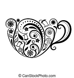 Vector Cup of Tea With Floral Design Elements.