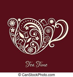 Vector Beige Cup of Tea With Floral Design Elements.