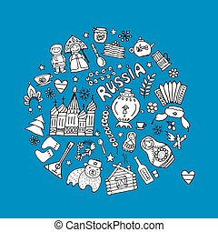 Russia, icons collection. Sketch for your design. Vector...