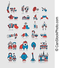 Russia, icons set. Sketch for your design. Vector...