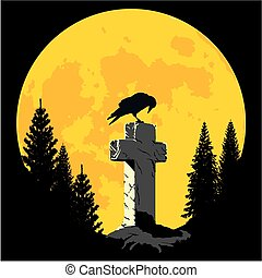 Crow on a cross in the moonlight