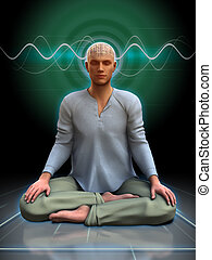 Meditation brainwaves - Young man meditating with some...
