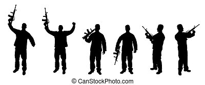 Silhouettes Of Soldiers With Rifles - Set Of Silhouetted...