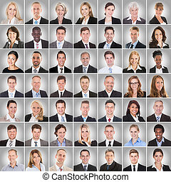 Collage Of Smiling Businesspeople - Collage Of Smiling...