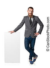 Man with blank banner - Hipster man with beard and mustashes...