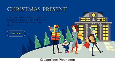 Christmas Present Flat Style Vector Web Banner