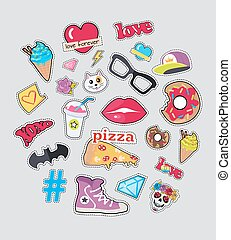Collection of Things for Teens Vector Stickers Set - Set of...