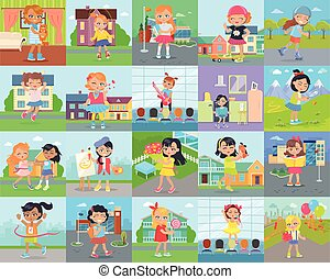 Little Girl Leisure and Hobby Vector Concepts Set