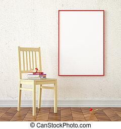 Mock up poster frame - 3d illustration interior. Mock up...