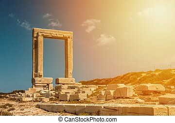 Portara of Naxos at sunset - Portara of Naxos, famous...