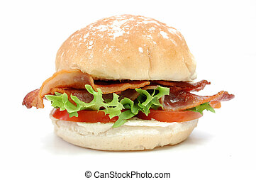Bacon burger - Closeup of a bacon roll with lettuce and...
