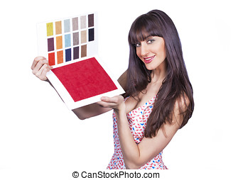 Color catalogue girl - Pretty woman showing color fabric...