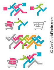 Shopping Spree icons - Colorful Illustration of set of...