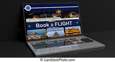 3d rendering flight online reservation on black background