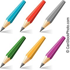 vector set of stylized pencils with a shadow