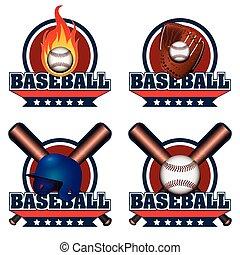 Isolated baseball emblem - Set of baseball emblems with...