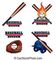 Set of baseball emblems with different objects, Vector...