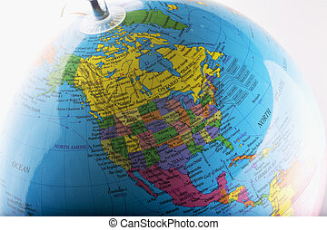 North America on globe, close up, horizontal image