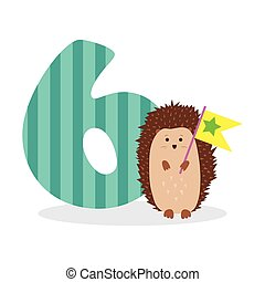 Figures for birthday isolated on white background, hedgehog, six. Vector.