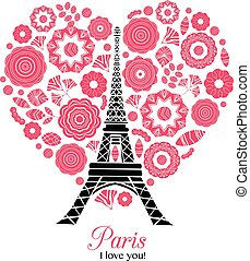 Vector Paris Eifel Tower Bursting With St Valentines Day Red Hearts Of Love