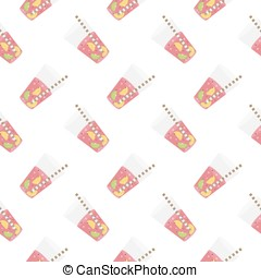 Pink sweet water with lime and lemon. Seamless pattern. -...