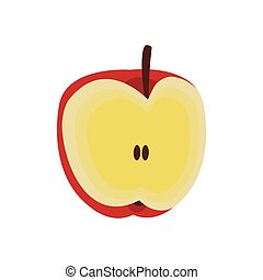 apple fruit icon - slice of apple fruit icon over white...