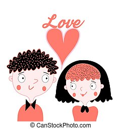 Enamoured boy and girl - Vector Bright card with love with a...