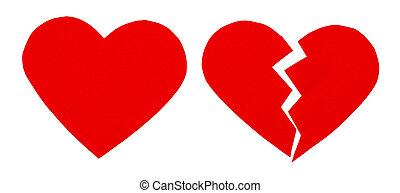 Red heartbreak / broken heart. close up of a paper broken...