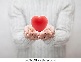 conceito, Coração, Dar, Amor, vermelho, homem