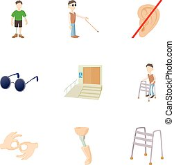 People with special needs opportunities icons set. Cartoon...