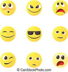 Emoticons for messages icons set, cartoon style - Emoticons...