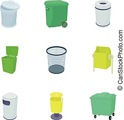 Rubbish bin icons set, cartoon style - Rubbish bin icons...