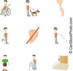 Cripple icons set, cartoon style - Cripple icons set....