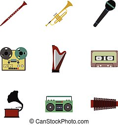 Musical device icons set, flat style