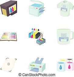 Printing in polygraphy icons set, cartoon style - Printing...