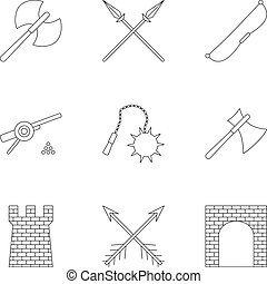 Medieval knight icons set, outline style