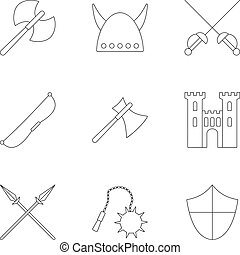 Medieval armor icons set, outline style