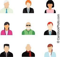 Avatar people icons set, flat style