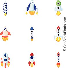 Fast rockets icons set, cartoon style