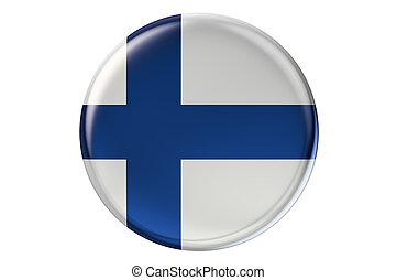Badge with flag of Finland, 3D rendering isolated on white...