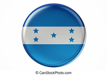 Badge with flag of Honduras, 3D rendering isolated on white...