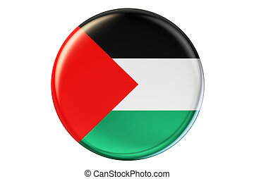 Badge with flag of Palestine, 3D rendering isolated on white...
